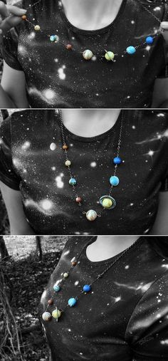 Ive always had a deep love for space! This is like my dreammm necklace!    Each planet is sculpted by me from polymer clay. I blended the