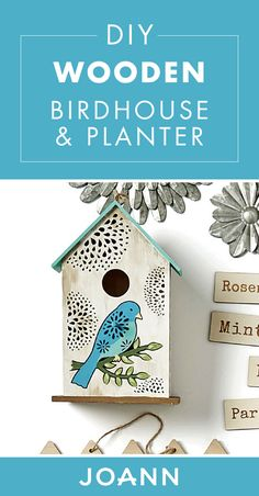 Spring decor is here! Check out this DIY Wooden Birdhouse and Planter from JOANN to learn how to create a stunning piece of art for your home. Mother's Day Projects, Bird Houses Painted, Arts And Crafts, Diy Crafts, Wood Planters, Joanns Fabric And Crafts, Birdhouse, Wooden Diy, Rustic Wood
