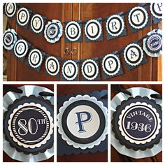 80th Birthday party decor. Masculine Navy Blue and Grey Birthday Banner by Charming Touch Parties. Fully assembled and customizable. Any Age by CharmingTouchParties on Etsy