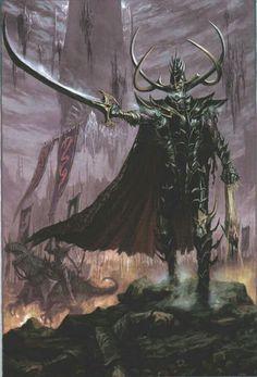 Malekith, The Witch King, leading the massive armies of Naggaroth Fantasy Heroes, Fantasy Battle, Fantasy Races, High Fantasy, Fantasy Rpg, Fantasy Artwork, Fantasy Characters, Warhammer Dark Elves, Warhammer Art