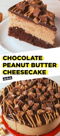 This Chocolate Peanut Butter Cheesecake is THICK as hell. Get the recipe at Delish.com. #recipe #easyrecipe #easy #cake #cheese #cheesecake #baking #dessert #chocolate #peanutbutter #dessertrecipes #creamcheese #vanilla #candy #reeses