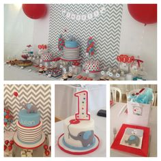 Julian's 1st birthday outdoor elephant theme. http://www.ohsochiccelebrations.com/