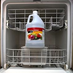 CLEAN DISHWASHER by pouring 1 cup of Vinegar into the bottom of the tub & running it through a cycle without any dishes. Doing this once every month or two will remove built-up soap residue & keep it in squeaky clean shape.
