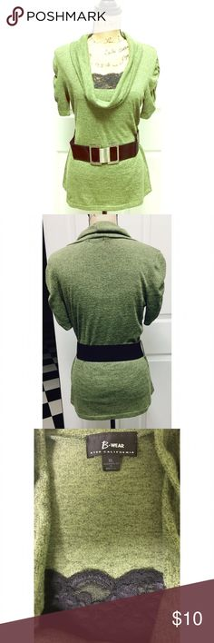 olive Green short sleeve sweater with belt size XL Cute short sleeve olive green sweater with a cowl neck, a big black belt and a lace insert. worn only once and in great condition. size XL B wear  Sweaters Cowl & Turtlenecks