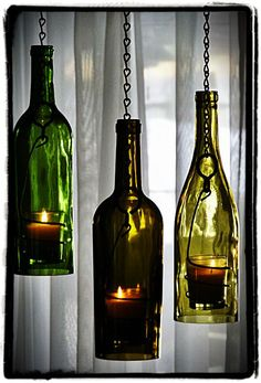 wine bottle crafts with lights | Wine Bottle Hanging Lights | Recycle