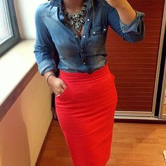Red skirt and denim shirt