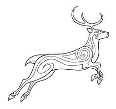 Hirsch. Celtic Tribal, Celtic Art, Viking Designs, Celtic Designs, Celtic Animals, Glass Painting Patterns, Viking Pattern, Animal Outline, Doodle Images
