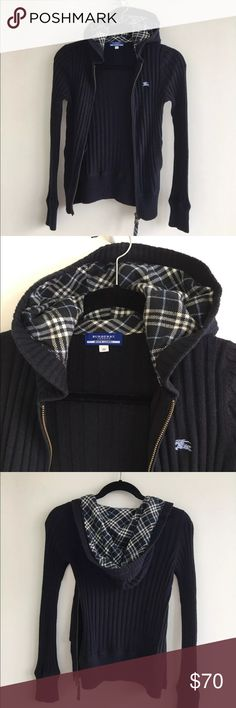 Burberry Blue Label cardigan Burberry Blue Label hoodie  Sold only in Japan  Purchased at a Burberry boutique with one floor dedicated only to blue label items 100% authentic  Size 38 equivalent to size M in US Ribbed Navy zipper sweater with Burberry plaid, two side pockets Cotton 70% wool 30%  Paid $255 Used very gently couple of times. Great condition!! No trades! Burberry Sweaters Cardigans