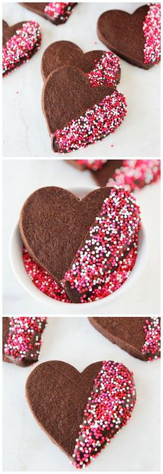 Chocolate Shortbread Heart Cookies Dipped in Chocolate and Sprinkles