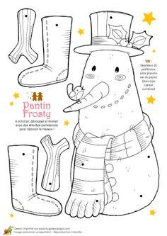 Coloriage noel tendresse pantin frosty bonhomme de neige