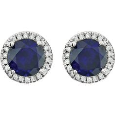 Blue Sapphire Halo Diamond Earrings 14k white gold Round Sapphire Gemstone Natural Round Brilliant Diamonds 2.13 tcw Beautiful Birthstone