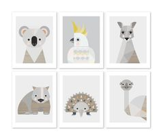 Set of 3 Black and White Prints Nursery Wall Art Emu, Nursery Prints, Nursery Wall Art, Kids Bedroom Accessories, Scandinavian Kids Rooms, Certificate Frames, Baby Posters, Echidna, Black And White Prints