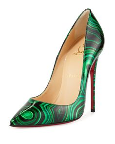 Christian Louboutin So Kate Marbled Red Sole Pump, Green, Size: 5.5B/35.5EU