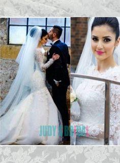 Illusion lace top long sleeves mermaid said mhamad wedding dress