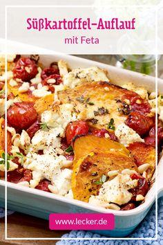 Cazuela de camote con queso feta y piñones - receta - En nuestra receta para la colorida cazuela de camote con queso feta y piñones, le mostramos cómo c - Healthy Food Recipes, Veggie Recipes, Cooking Recipes, Pine Nut Recipes, Queso Feta, Sweet Potato Casserole, Family Meals, Food Inspiration, Dinner Ideas