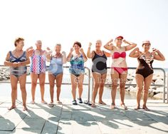Group of senior women flexing their muscles royalty-free stock photo