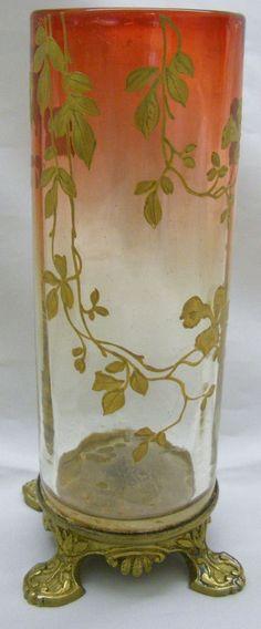 Moser Rubina Cylinder Vase with Gold Leaf applied Trim and Footed Metal Base $425.00