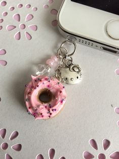 Kawaii Frosted Donut Cell Phone Charm, Dust Plug Charm, Kawaii Polymer Clay, Kawaii iPhone Charm on Etsy, $8.00