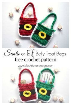 Santa or Elf Belly Treat Bag free crochet pattern from Blackstone Designs #crochet #freecrochetpattern #Christmas #Santa #Elf