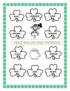 "This exciting picture can help your Elementary students have a fun time coloring by number while learning colors in Spanish. Great Cross curricular activity for Kindergarten through 6th grades. Celebrate ""El Dia de San Patricio"" in your classroom.  Kids can recognize colors in Spanish while learning colors."