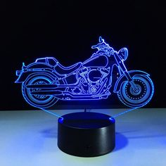 $14.49 3D USB Motorcycle Shape Touch Colorful Atmosphere Night Light