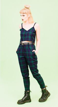 GREEN TARTAN ANKLE GRAZER TROUSERS AND CAMI TWO PIECE