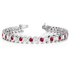 Allurez Ruby & Diamond Tennis S Link Bracelet 14k White Gold (4.00ct) ($4,225) ❤ liked on Polyvore featuring jewelry, bracelets, white gold diamond bangle, white gold jewelry, white gold jewellery, ruby jewelry and diamond jewelry
