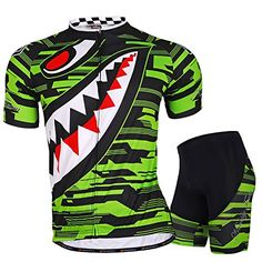 NUCKILY Mens Polyester Sharp Tooth Design Bike Wear Jersey and Short Set green L * Be sure to check out this awesome product.Note:It is affiliate link to Amazon.