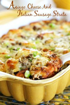 Asiago Cheese And Italian Sausage Strata - This make ahead casserole features the robust flavor of Asiago cheese, Italian sausage and cubed bagels.