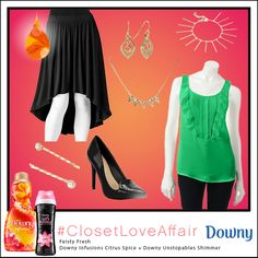 This Feisty Fresh look was inspired by Downy Infusions Citrus Spice and Downy Unstopables Shimmer. The spicy flair from the high-low skirt will fill you with life and inspiration! To shop this look, visit the LC Lauren Conrad collection available only at Kohl's. To register for the #ClosetLoveAffair sweepstakes visit https://downy.promo.eprize.com/pinterest/.