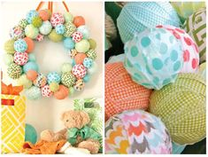 Wonderful Wreath - DIY fabric wreath - great for nursery or kids room. just tear strips of fabric, wrap around styrofoam balls secure fabric ends with pin, hot glue on to wreath form. #FabricCutter Fabric Balls, Fabric Wreath, Fabric Decor, Fabric Crafts, Scrap Fabric, Fabric Strips, Extra Fabric, Silk Fabric, Easter Crafts