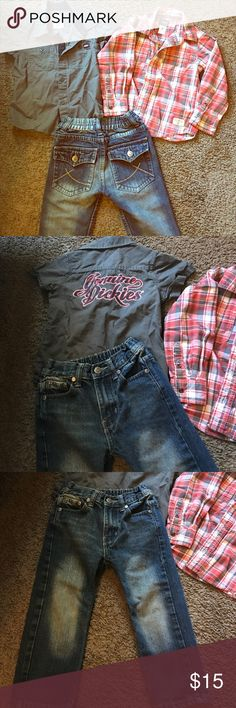 3T Designer Boys Bundle 💕 Dickies button up 💋 Carters long sleeve button Down 💕 Chams genuine Jeans❤️ make your own Bundle and Save 💸 Dickies Matching Sets