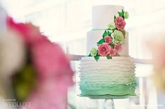 This wedding was celebrated with 3 events beginning with an intimate ceremony & reception held in the Owner's Suite of the Fairmont Pacific Rim Hotel. Yacht Wedding, Wedding Events, Vanessa Scott, Vancouver, Couture Cakes, Green Colour Palette, Ombre Cake, Different Shades Of Green, Second Weddings