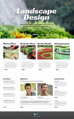 Landscape Design WordPress Theme.  Share your works in terrain design as a prove of your professionalism on this website. Good combination of colours and ergonomic position of site elements makes this template a perfect choice.
