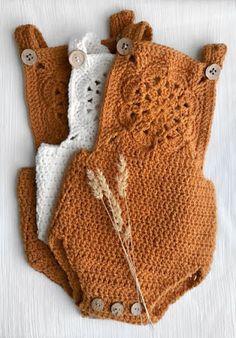 Crochet Baby Romper African Flower Mandala bib front in Australian Wool Pattern . Crochet Baby Romper African Flower Mandala bib front in Australian Wool Pattern by Vintage Fleur w Mode Crochet, Knit Crochet, Crochet Romper, Knitted Baby Romper, Crochet Shorts Pattern, Knitted Baby Outfits, Baby Romper Pattern, Mandala Crochet, Crochet Clutch