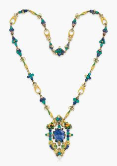 Gold gem-set pendant necklace, by Louis Comfort Tiffany, The articulated sapphire pendant has emerald and yellow brown diamond accents, in a decorative enamel bouquet frame set with sapphires, emeralds and coloured diamonds Bijoux Art Nouveau, Art Nouveau Jewelry, Jewelry Art, Fine Jewelry, Jewelry Design, Jewellery Box, Enamel Jewelry, Antique Jewelry, Vintage Jewelry