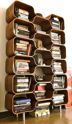 Modernist Bookshelf, HIVE Modular Shelving Unit by Chris Ferebee, Limited Edition, Molded Plywood, Mod Design
