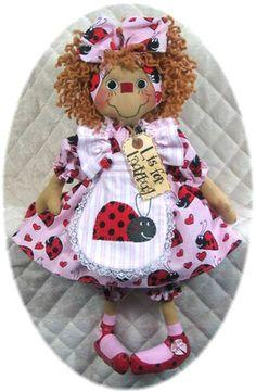 Primitive Raggedy Ann~Emmie Rose~ Doll Pattern #224