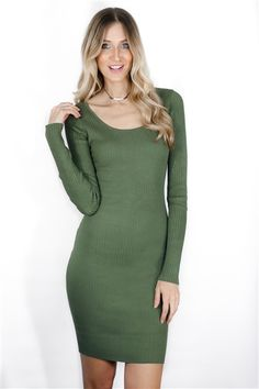 Call Back Dress in olive! Shop the look in store + online. www.LaurenNicole.com