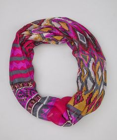 Look at this #zulilyfind! Hot Pink & Gold Tribal Infinity Scarf by DM Merchandising #zulilyfinds