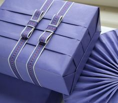 Pretty pleated periwinkle gift wrap Jane Means | British Ribbon designer