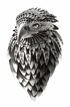 American Eagle Black And White Ornate Rendered Illustration Poster By Sassan Filsoof