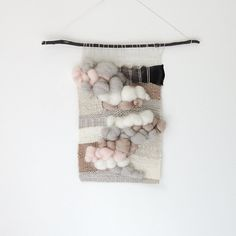no. 062614 // the seven year first date handwoven textural wall hanging in shades of white, cream, coffee and pink with soft clouds of roving and