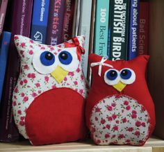 Owls on a shelf