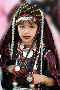 Africa | Libyan girl in traditional costume |
