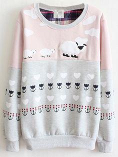 Stylish Casual Sheep Printed Long Sleeve Cotton Sweatshirt For Women - NewChic
