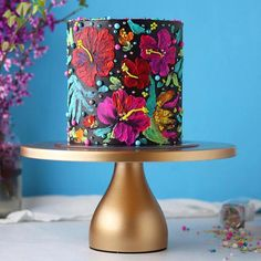 Tropical Cake with Hand Painted Buttercream - Cake Decorating Blue Ideen Wedding Cake Stands, Wedding Cake Toppers, Wedding Cakes, Party Wedding, Pretty Cakes, Beautiful Cakes, Amazing Cakes, Mini Cakes, Cupcake Cakes