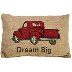 05eb9c1e7 Amazon.com  Red Truck Tree Holiday Decor Vintage Burlap Accent Throw Pillow  Cover 8 x 12 Inches  Home   Kitchen