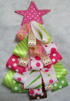 Christmas Iron On Applique - Ribbon Tree. $9.75, via Etsy.