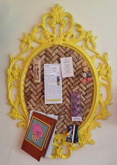 - Wine corkboard with colorful frame. Possibly to post photos or reminders